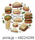 ハンバーガー バーガー ファストフードのイラスト 48224298