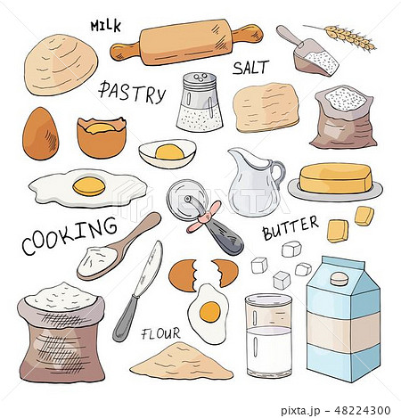 Set of hand drawn elements for cooking pastry  48224300