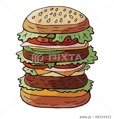 Hand drawn vector huge hamburger on sesame bun  48224352