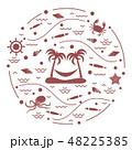 島 浮かぶ島 椰子の木のイラスト 48225385