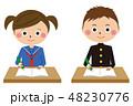 高校生 女の子 男の子のイラスト 48230776
