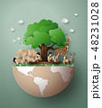 おりがみ 折り紙 野生動物のイラスト 48231028