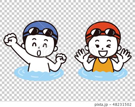 游泳衣的孩子們在游泳池很高興 48231502