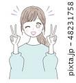 若い女性 ピース 48231758