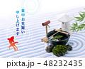 暑中見舞い 日本庭園 金魚のイラスト 48232435