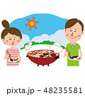 ポップなカップル 外で楽しくバーベキュー 48235581