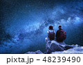 Travelers couple look at the stars. 48239490