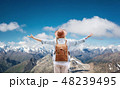 Traveler at the mountains landscape. 48239495