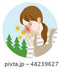 主婦 花粉症 鼻づまりのイラスト 48239627