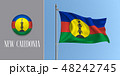 New Caledonia waving flag on flagpole and round icon vector illustration 48242745