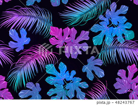 Tropic leaves seamless pattern in neon colors 48243767