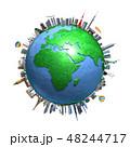 地球ランドマークヨーロッパ白バック 48244717