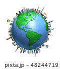 地球ランドマークアメリカ白バック 48244719