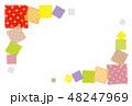 パッチワーク生地 水玉 背景素材  ポストカード  48247969