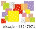 パッチワーク生地 水玉 背景素材  ポストカード  48247971