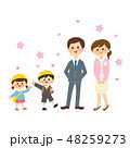 桜と入園・入学の親子 48259273