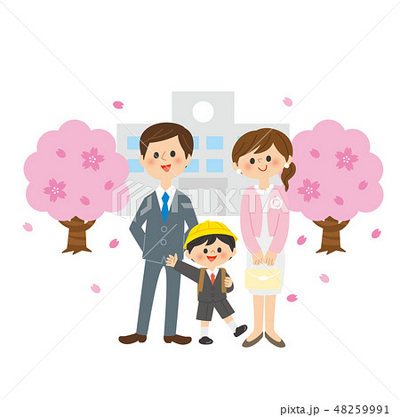 入学式の親子 48259991