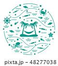 島 浮かぶ島 椰子の木のイラスト 48277038