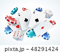 Playing cards chips dice. Casino poker gambling realistic 3D falling cards and chips isolated on 48291424