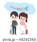 旅行 新婚旅行 飛行機のイラスト 48292360