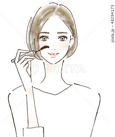 マスカラ 女性 笑顔のイラスト 若い アイメイク 化粧 48294173