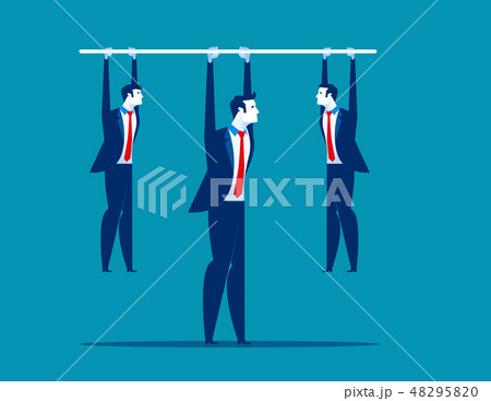 Leadership.  Manager holding bar with hanging 48295820
