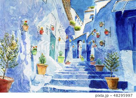 モロッコ シャウエン 青の街 アフリカ 綺麗 水彩画 48295997