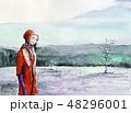 上高地 大正池 冬 スケッチ 女性 48296001