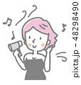 女性 ヘアドライヤー 乾かすのイラスト 48298490