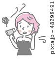 女性 ヘアドライヤー 乾かすのイラスト 48298491