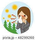 ティッシュで鼻をかむビジネスウーマン 屋外 円形 花粉症イメージ 48299260