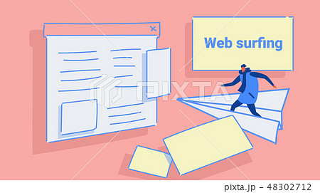 man flying on paper plane to website page browser web surfing concept casual guy in winter clothes 48302712