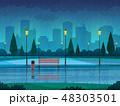 雨 公園 こしかけのイラスト 48303501
