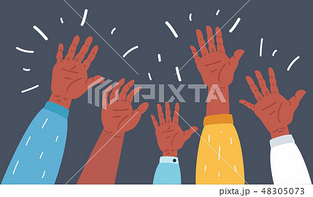 Raised up hands on dark 48305073