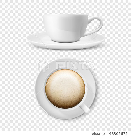 Realistic Vector 3d Glossy Blank White Coffee Cup or Mug Set with Cappuccino Coffee Closeup Isolated 48305675