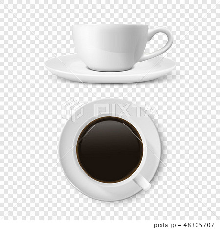 Realistic Vector 3d Glossy Blank White Coffee Cup or Mug Set with Americano or Espresso Closeup 48305707