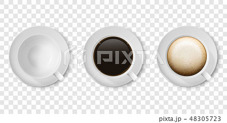 Realistic Vector 3d Glossy Blank White Coffee Cup or Mug Icon Set with Americano, Espresso 48305723