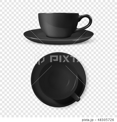 Realistic Vector 3d Glossy Blank Black Coffee Tea Cup, Mug Set Closeup Isolated. Design Template of 48305726