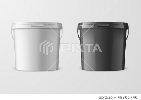 Vector Realistic 3d White and Black Plastic Bucket for Food Products, Paint, Foodstuff, Adhesives 48305740