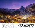 Zermatt Town and Matterhorn Mountain at Winter Night. Swiss Alps, Switzerland 48308972
