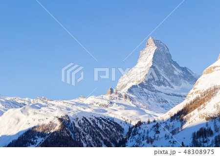 Matterhorn Mountain at Sunny Winter Day as Seen from Zermatt 48308975