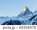 Matterhorn Mountain at Sunrise in Winter as Seen from Zermatt 48308978