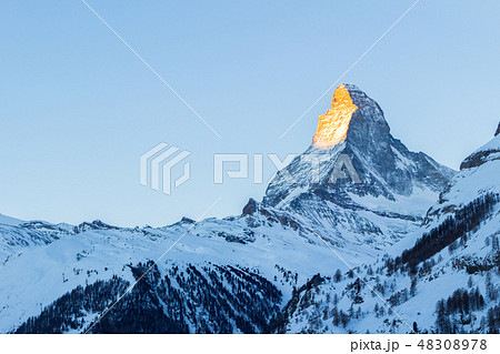 Matterhorn Mountain at Sunrise in Winter as Seen from Zermatt 48308978