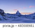 Matterhorn Mountain at Winter Evening. Sunset. Wide Shot. Swiss Alps, Switzerland 48308981