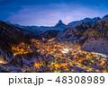 Zermatt Town and Matterhorn Mountain at Winter Night. Swiss Alps, Switzerland. Aerial View 48308989