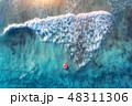 女性 波 海の写真 48311306
