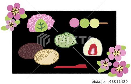 和菓子(春)背景黒 48311429