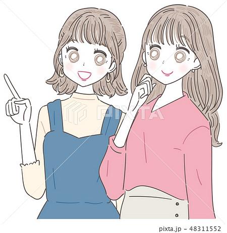 若い女性 女の子 2人 夏 48311552