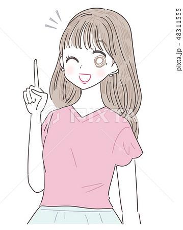 若い女性 女の子 夏服 48311555