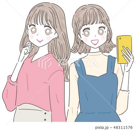 若い女性 女の子 2人 48311576